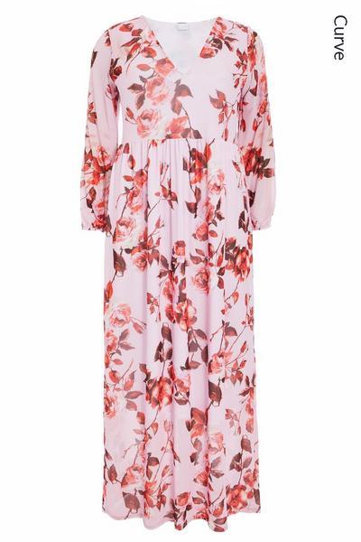 Curve Pink Floral Maxi Dress